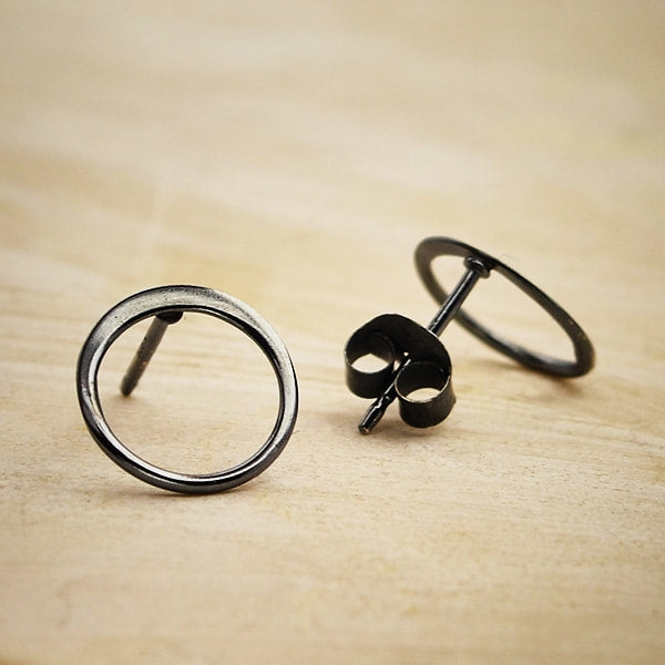 black sterling silver finish open circle post stud earrings