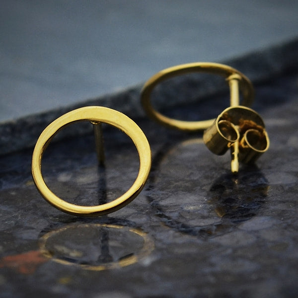 14k gold vermeil shiny post open circle studs