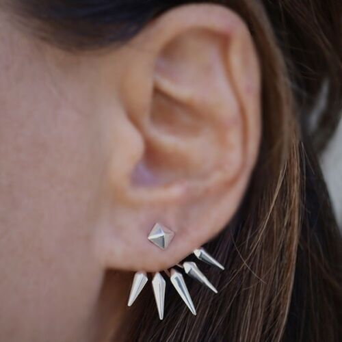 Pyramid Spike Rocker Chic Earrings - Sterling Silver .925