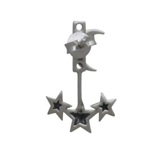 Celestial Moon Stars Ear Jacket Earrings - Sterling Silver .925