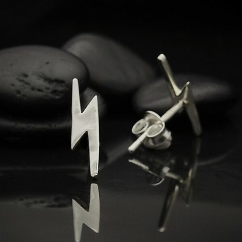 Sterling silver lightning bolt stud post earrings