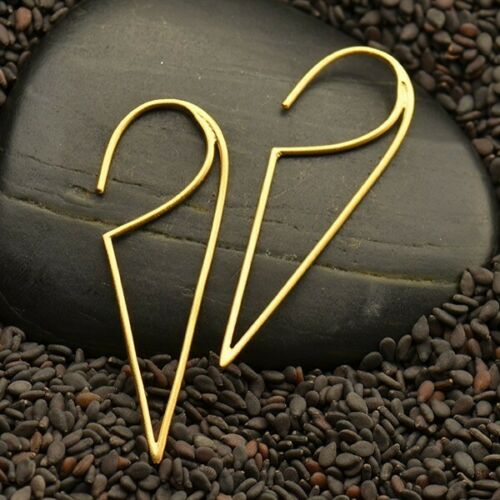 Gold vermeil triangle dagger long earrings in gold