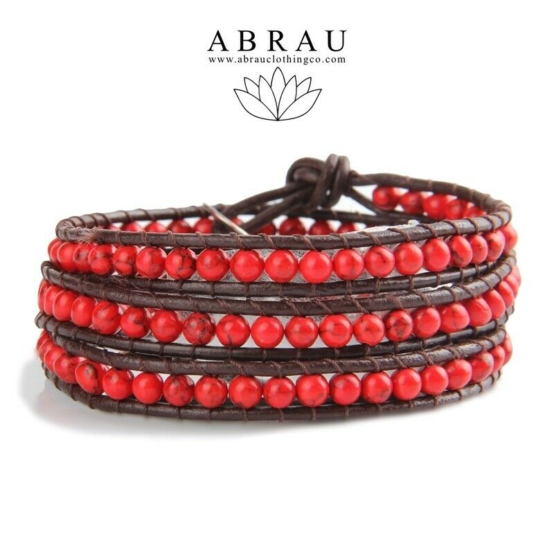 Red Coral Boho Style Gemstone 3 Wrap Leather Bracelet