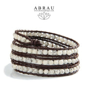 white howlite leather wrap bracelet