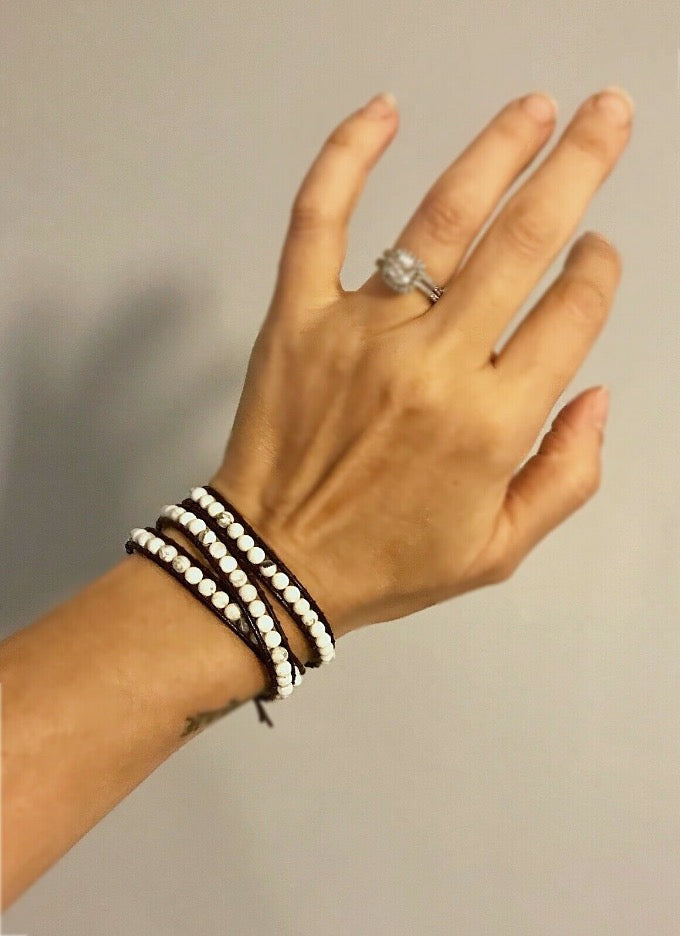 white howlite gemstone leather wrap bracelet