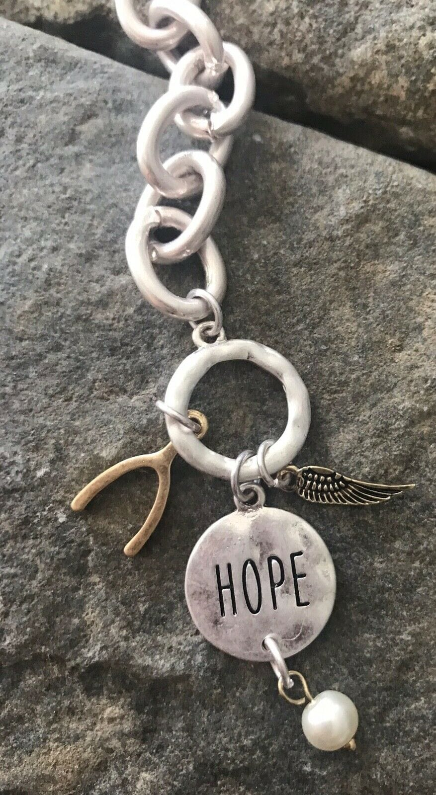 Hope Wishbone Angel Wing Matte Silver Chunky Toggle Clasp Bracelet {More Options}