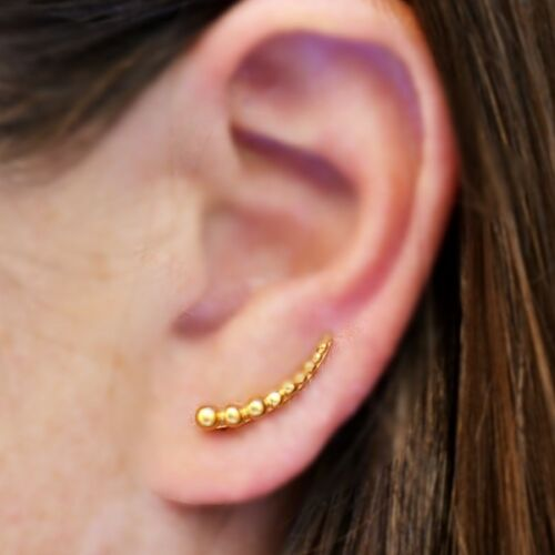 gold vermeil ear climbers with granulation