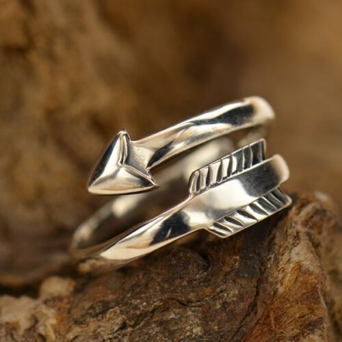 Arrow Boho Style Wrap adjustable Stacking Ring - Bronze Gold or Sterling Silver