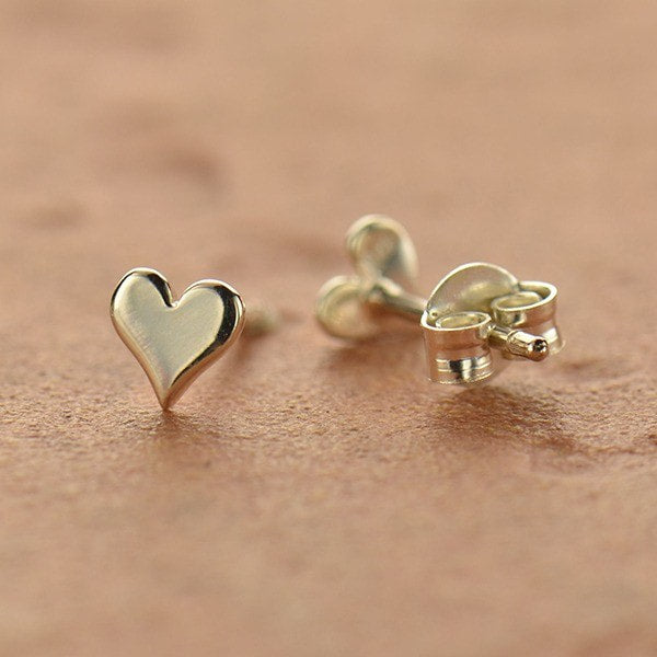 Tiny Heart Love Stud Post Earrings - 24K Gold Vermeil or Sterling Silver