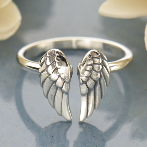 Adjustable Angel Wing Ring in Sterling silver