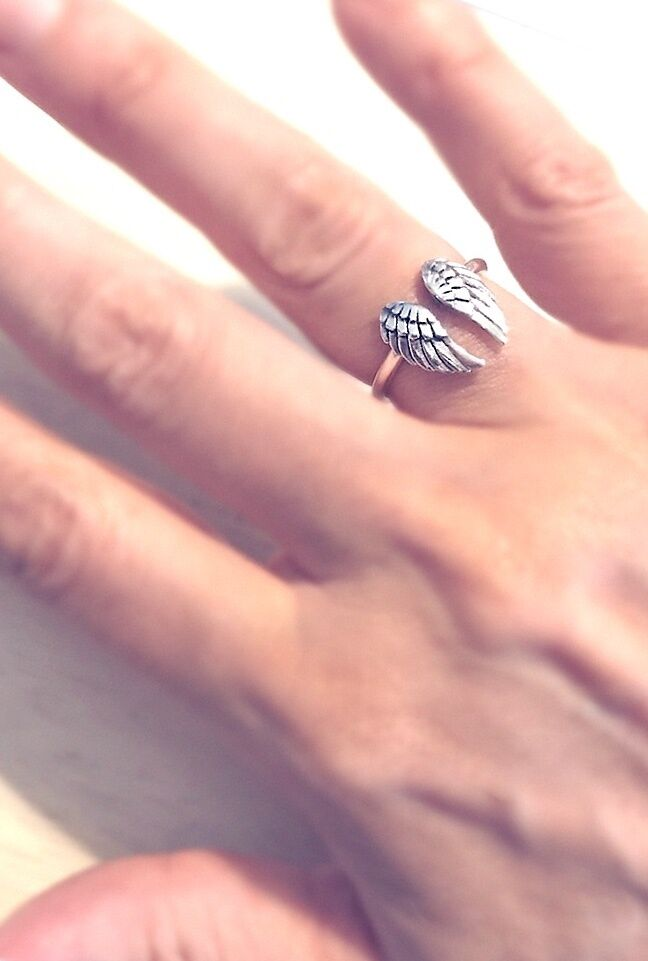 Angel Wing Ring Adjustable in Sterling Silver