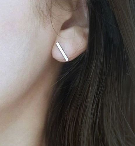 Modern Simple Bar Stud Earrings - Gold Vermeil, Sterling Silver or Rose Gold {Choose Finish}