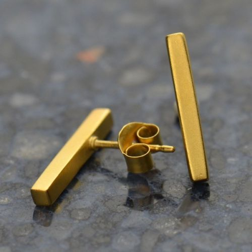 gold vermeil bar stud post earrings