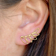 gold vermeil ear climbers leaves