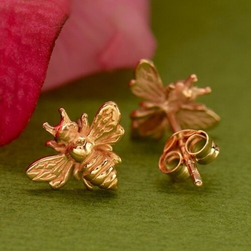rose gold vermeil stud post bumblebee honey bee earrings