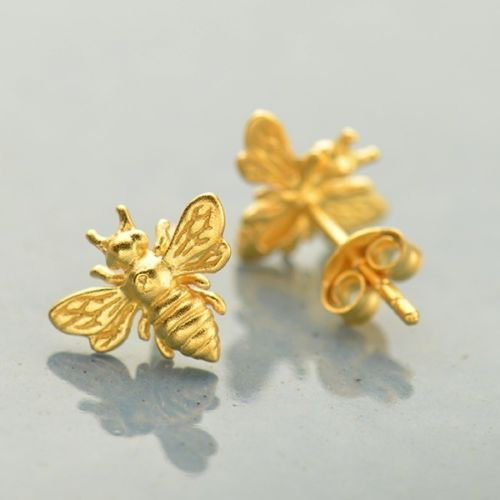 Matte gold honey bee post stud earrings