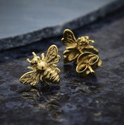 14K Shiny Gold Vermeil Honey Bee Post Earrings | Abrau Jewelry