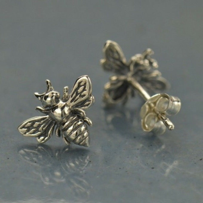 Honey Bumblebee Post Stud Earrings in Sterling Silver