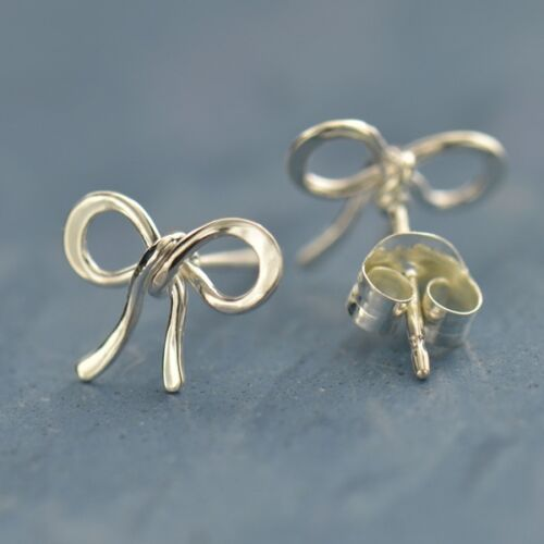 tiny bow sterling silver post earrings