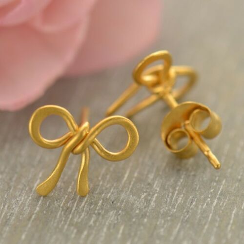 gold tiny bow stud post earrings