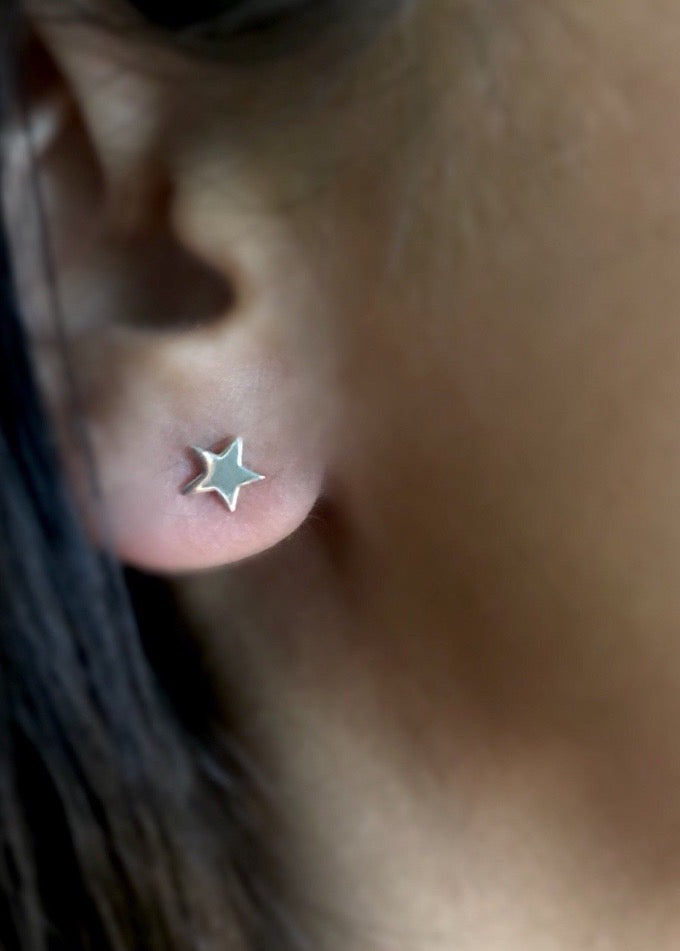 sterling silver tiny star post stud earrings
