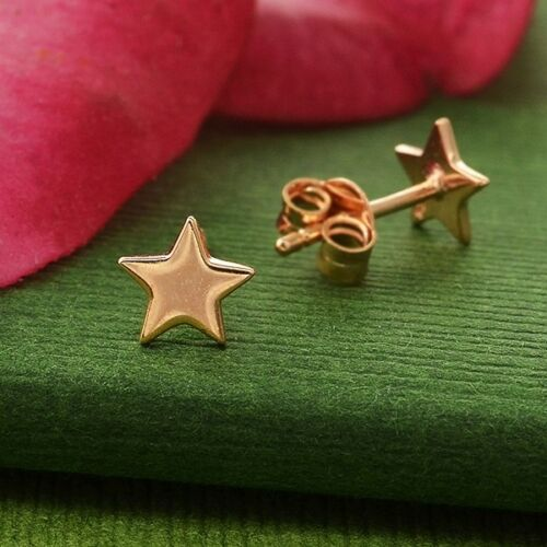 rose gold tiny star stud post earrings