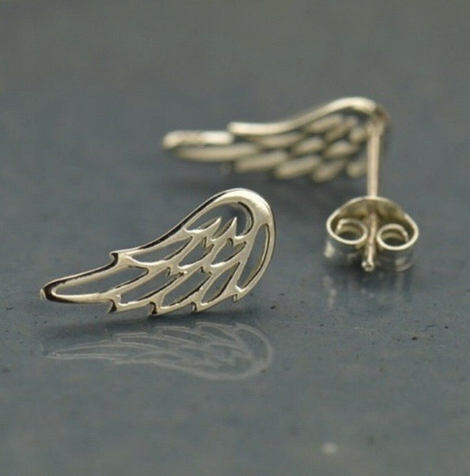 Gifts for Women & Girls - Sterling Silver Angel Wing Ear Climbers Post Stud Earrings
