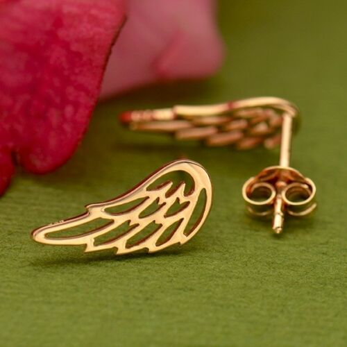 Rose gold angel wing ear climbers studs post earrings