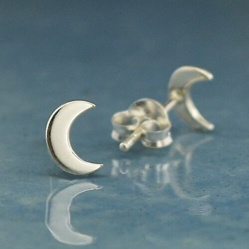 Crescent Moon Stud Post Earrings - 18K Rose Gold Vermeil or Sterling Silver .925