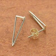 Sterling silver open triangle long stud post earrings