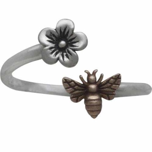 Cherry Blossom and Honey Bee Mixed Metal Wrap Adjustable Ring - Sterling Silver .925