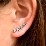 shooting star cluster celestial ear climbers in sterling silver