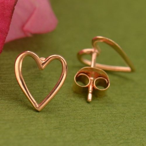 rose gold vermeil openwork heart stud post earrings