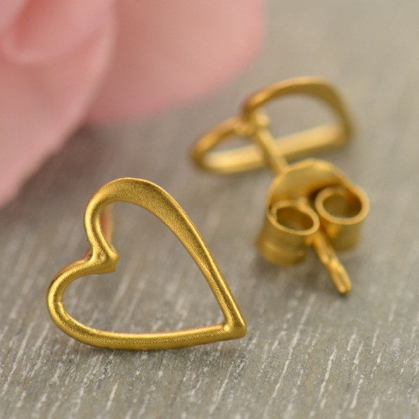 24k gold vermeil open work heart stud post earrings
