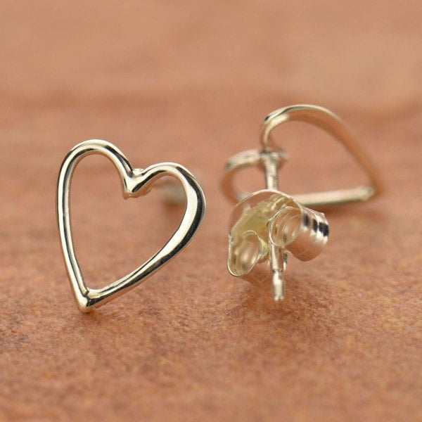 sterling silver heart post studs