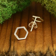 hexagon honey comb sterling silver post stud earrings