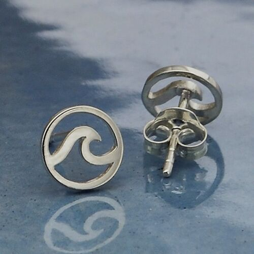 wave openwork stud post earrings in sterling silver