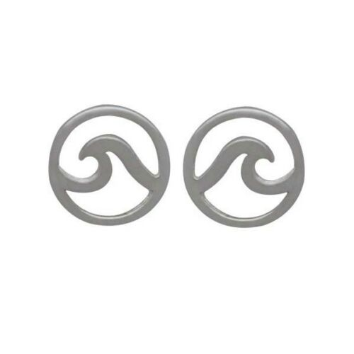 Ocean Wave Beach Surfer Lover Stud Post Earrings - Sterling Silver .925