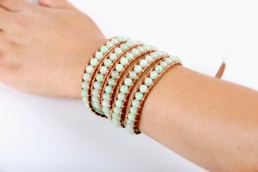 Green Aventurine Natural Genuine leather 5 Wrap leather Bracelet