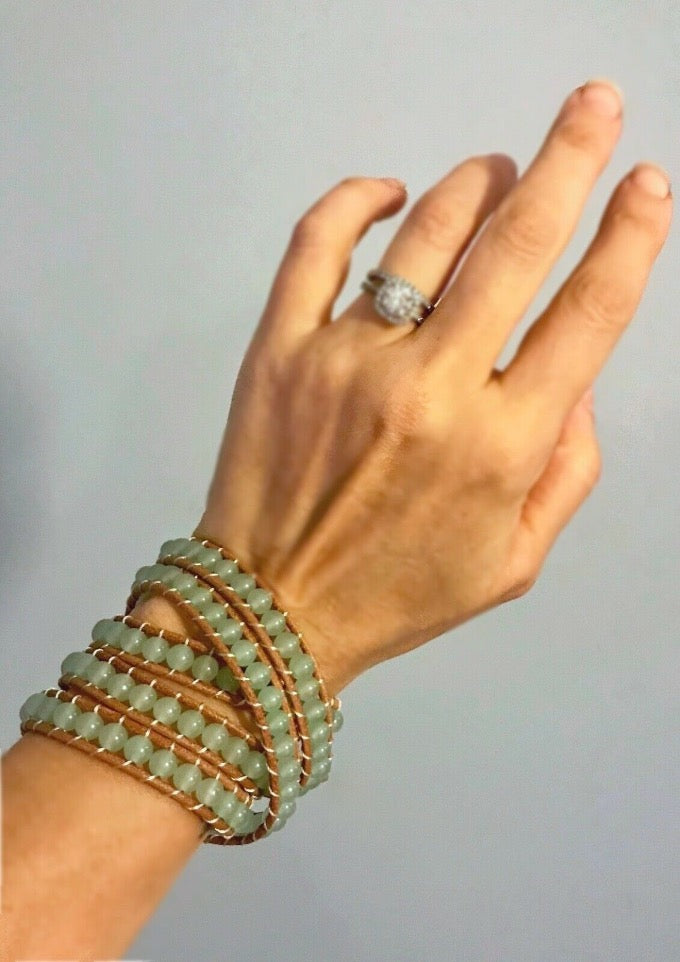 Green Aventurine Boho Gemstone Beaded 5 Wrap Genuine Leather Bracelet