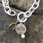 faith cluster charm bracelet in silver
