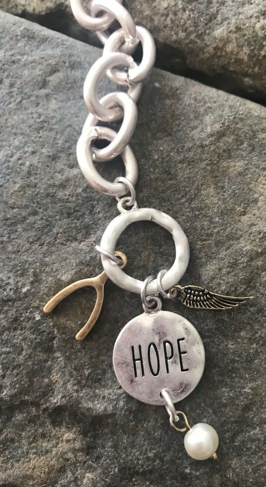 Hope message charm bracelet with wishbone and angel wing