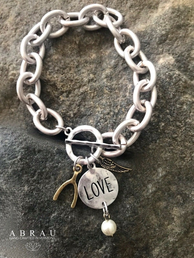 Love message charm bracelet in silver