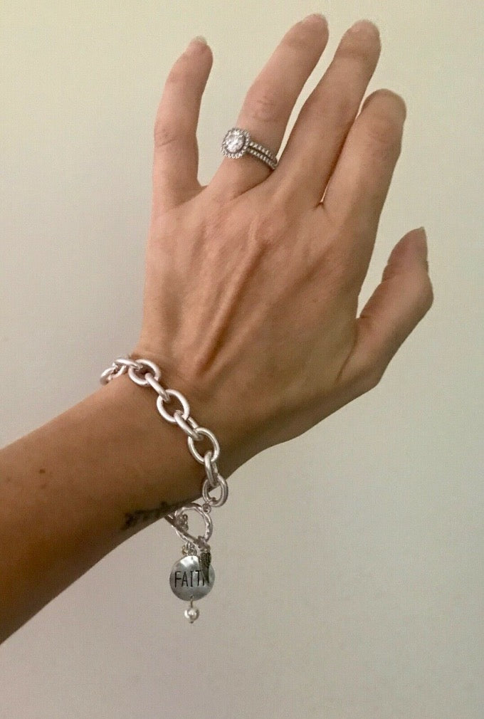 Faith Wishbone Angel Wing Matte Silver Chunky Toggle Clasp Bracelet {More Options}