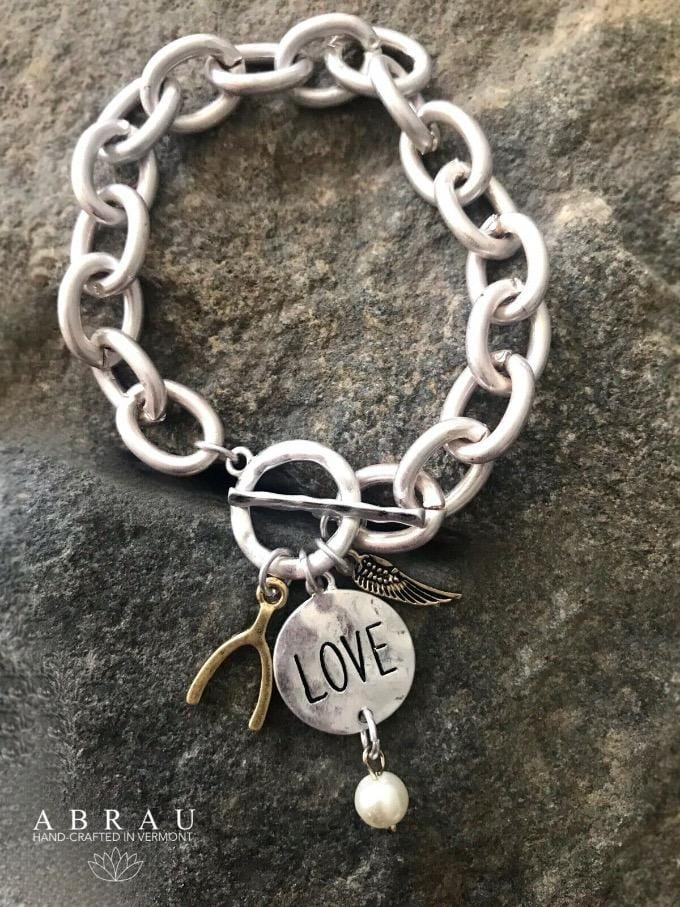 Love Wishbone Angel Wing Matte Silver Chunky Toggle Clasp Bracelet {More Options}