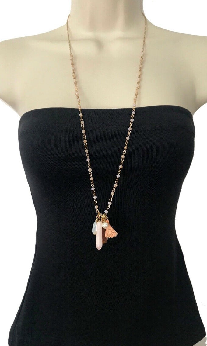 Boho Style Gold Long Wire Wrapped Pink Quartz Druzy Beaded Tassel Necklace