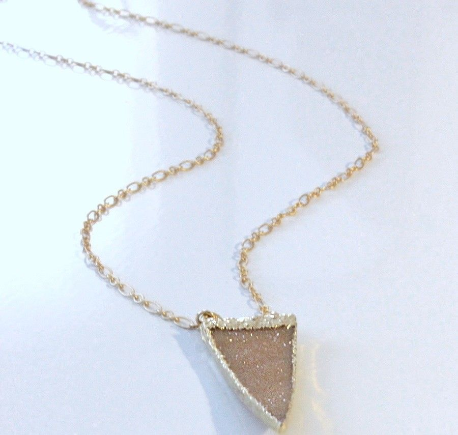 Triangle Druzy Pendant with Gold-Filled Chain