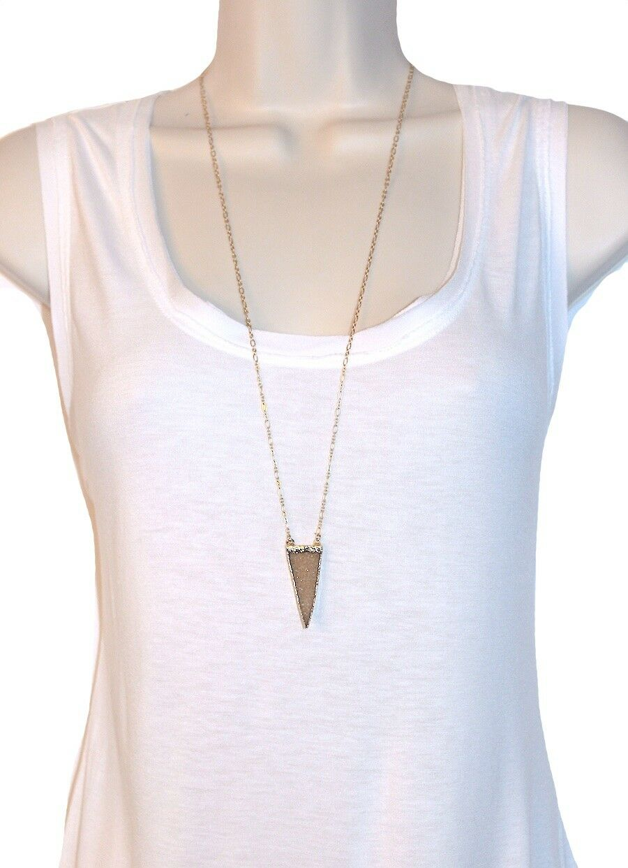 Long Druzy Triangle Pendant Necklace - Boho Style