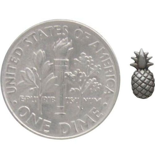 Tiny Pineapple Stud Earrings w/ Handmade Card - Sterling Silver .925