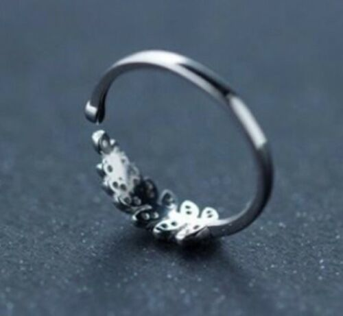 Pave Crystal Silver CZ Leaf Adjustable Open Wrap Ring